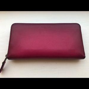 Coach Pink accordion zipper wallet